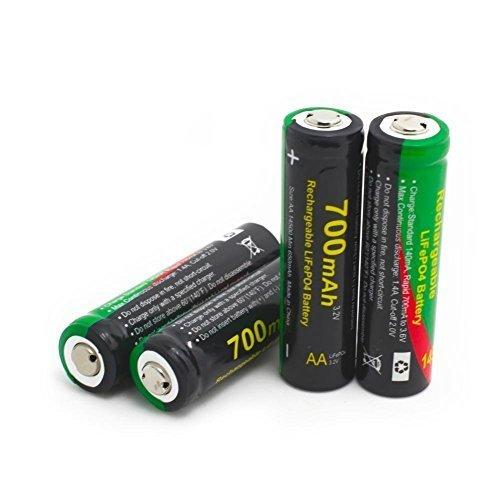 SUPEREX Batterie Ricaricabili per Fotocamera o Videocamera Digitale 14500 3.2V 700mAh LiFePo4 con batterie agli ioni di lito in Custodia Trasparente – confezione da 4