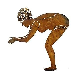 skulptur schwimmerin berta edelrost figur h he 73 5 cm x 70 cm teich deko garten dekoration. Black Bedroom Furniture Sets. Home Design Ideas