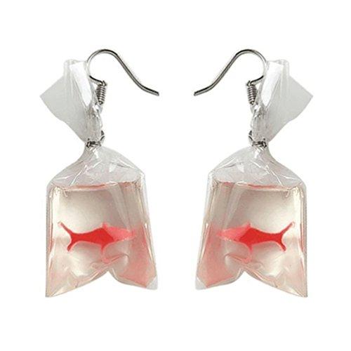 Bluelans Funny Goldfish Wasser Tasche Form baumeln Haken Ohrringe Charme Frauen Schmuck Geschenk (Bankett-tasche)