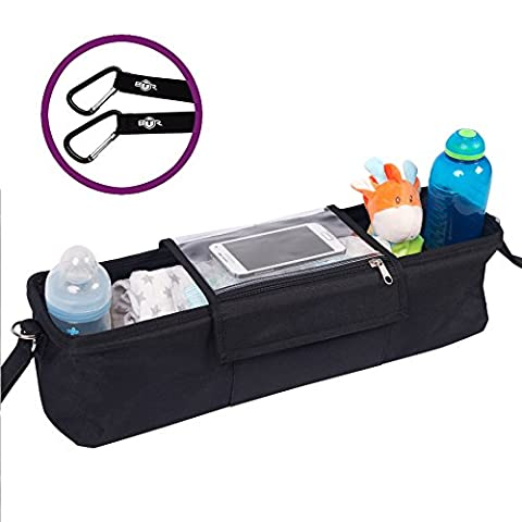 BTR Pram Twin Buggy Organiser Storage Bag for Double Buggies, Exclusive Phone-Flip-Pocket Mobile Phone Holder & Waterproof Rain Cover. PLUS 2 FREE x Buggy Clips. A Must Have Pram & Buggy Accessory