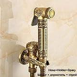 Leohome Wand Montiert Messing Bidet Wasserhahn Toilette Sprayer Antique Badezimmer Mop Reinigungshahn, Schlauch + Halter + Sprayer, Stil A