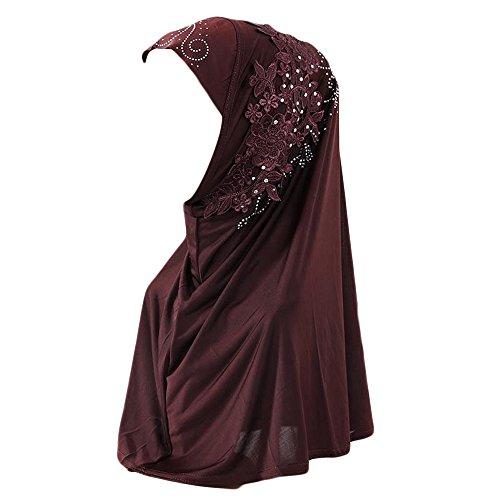 Muslim Damen Lose Spitze Kopftuch Turban Islamischen Abaya Dubai Frauen Elegante Gesichtsschleier Hidschab Schal Ramadan Kopfbedeckung Hijab Chemo Kappe (Kaffee)