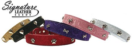 OmniPet Signature Leather Suede Dog Collar with Heart Ornaments, 1