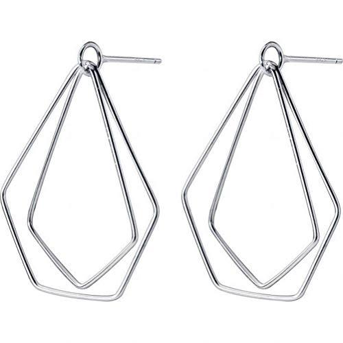 WOZUIMEI Ohrring Dangler Ohrstecker Ohrstecker S925 Silber Ohrringe Weiblichen Stil Einfache Hohl Unregelmäßige Pentagon Geometrische Ohrschmuck für Frauen, Silber