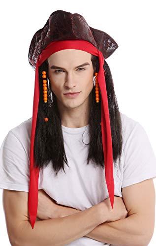 Wig me up - 90892-ZA1 Perücke & Dreispitz Hut Damen Herren Karneval Halloween Pirat Freibeuter Piratin braun