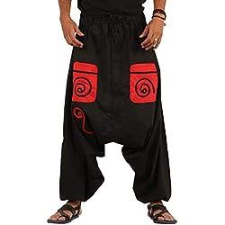 THE HAREM STUDIO Hombre Mujer Pantalones Harem Unisex Bombachos Ligeros, Hippies, de algodón, Casuales, Boho, Hechos a Mano para Yoga - 3 Bolsillos (Negro)