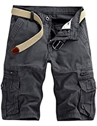 Hommes Cargo Pantalon Court Short de Travail Bermuda Vintage Zipper, QinMM  Running Sport Jogging Multi 8f00fe11bef5