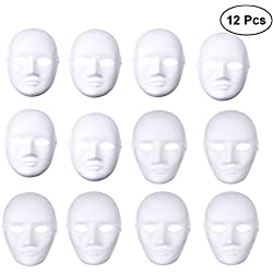 LUOEM DIY Cara Completa Máscara Cosplay Disfraces de Halloween DIY Blanco Máscaras Cosplay Máscara Party Máscaras, Paquete de 12 (6pcs Male y 6pcs Female)