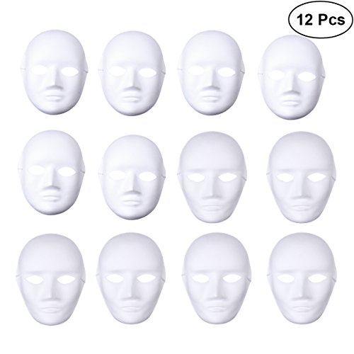 Foto de LUOEM DIY Cara Completa Máscara Cosplay Disfraces de Halloween DIY Blanco Máscaras Cosplay Máscara Party Máscaras, Paquete de 12 (6pcs Male y 6pcs Female)