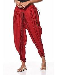 Nika Women's Cotton Hand Block Printed Dhoti Salwar by Kaanchie Nanggia (DH716_Red_Freesize)