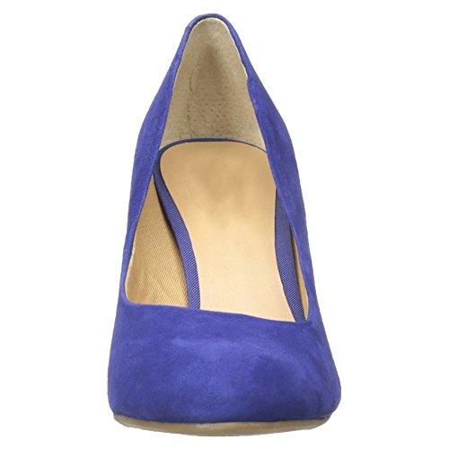 EKS Damen Famk Runde Zehe High Heels| Keilpumpen Wedges Pumps Damenschuhe Blau-Faux Wildleder