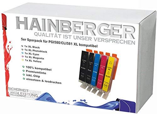 5X Hainberger XXL Patronen kompatibel zu Canon PGI580 CLI581 Pixma TR8550 TS6150 TS6151 TS6250 TS8150 TS8151 TS8152 TS8250 TS9150 TS9155 TS9550 TR7550 PGI-580 CLI-581 -