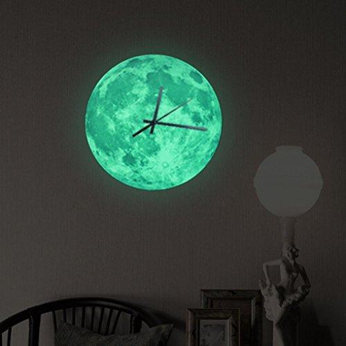 Preisvergleich Produktbild Winkey Luminous Moonlight Wanduhr 3D Armbanduhr Moon Glow in the Dark Uhr Dekoration,  grün,  30cm in diameter