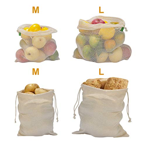 Reusable Produce Bags 100% Organic Cotton Fruits Vegetables Bread Muslin Bags Mesh Bags for Grocery Shopping Storage Washable Light Weight Tare Set of 4