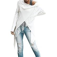 OverDose mujer De Moda Baggy Cardigan Coat Tassel Punto BotóN Chal Irregular Blusa Blanca OtoñO Chaqueta