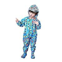 Bonbela Unisex Kids Baby Raincoat Cute Cartoon Rainsuit Rain Coverall Outdoors Rain Suit for Kids Raincoat