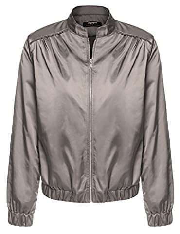 CRAVOG Damen Bomberjacke Kurz Zip Mantel Fliegenjacke Bikerjacke Silber Grau