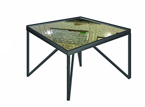 Azura Home Style Bespoke Galaxy sur Mesure Antique Miroir Dessus en Verre en métal Table Basse # 2 | Meubles pour Le Salon Industriel | Urban Chic Table carrée