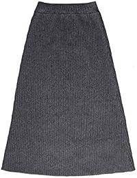 e38f96ff84 LLFUSM Falda Larga de Punto de Lana Otoño Invierno Micro Grasa Ropa de Gran  tamaño para