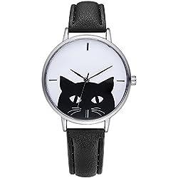 Simple Lindo Gato Correa de cuero PU Relojes de pulsera para hombres mujeres adolescentes, Negro