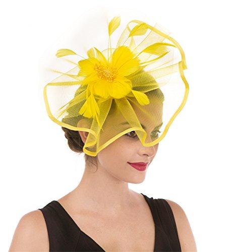 Damen Elegant Fascinator Hut Braut Hair Clip Accessoires Cocktail Royal Ascot (Großen Mesh Leuchtendes Gelb) (Großen Gelben Hut)