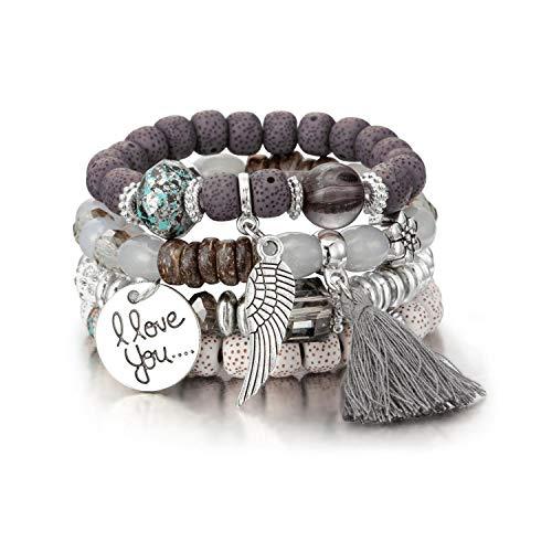 Awertaweyt Armband aus Glasperlen, Crystal Bead Bracelets for Women Vintage Bracelet Female Jewelry Tassel Natural Stone Charms Wristband Gift Pulseira Feminina SL1030 -