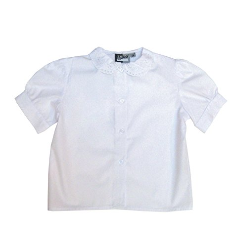 Girls School Uniform White Short Sleeve Lace Collar Blouse Shirt Chest 24 - 36 (5/6 Years Chest 26, White)