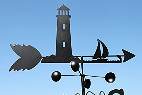 Weathervane- LIGHT HOUSE steel weathervane with ground spike and wall fixing.