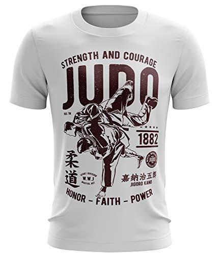 Stylotex Fitness T-Shirt Herren Sport Shirt Strenght and Courage Judo Gym Tshirts für Performance beim Training   Männer Kurzarm   Funktionelle Sport Bekleidung, Größe:L, Farbe:Weiss
