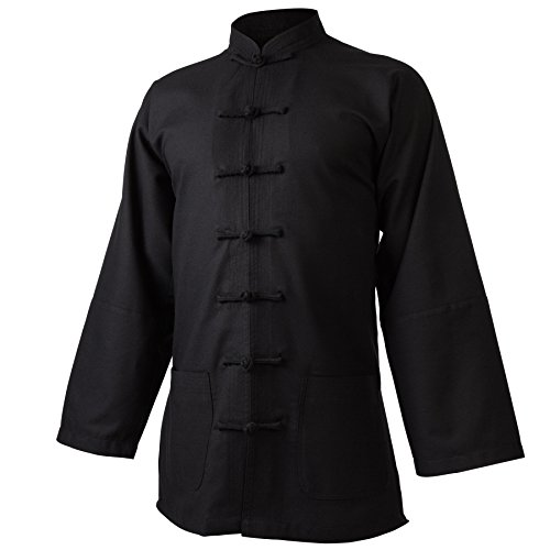 wu designs Leinen (Mittel) Kung Fu & Tai Chi Shirt Stehkragen Langarm - Taiji Anzug Schwarz 180