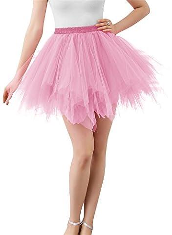 Wedtrend Femme Jupon Sous Robe Jupon années 50 vintage en tulle Rockabilly Avec Taille élastique Tricotage Tutu Petticoat WTC10002-Pink-2XL