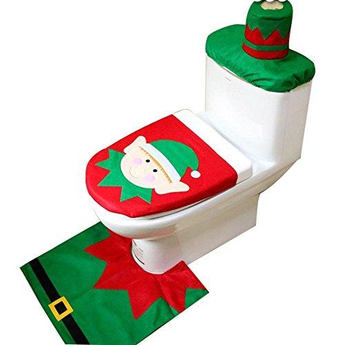 Duende de la Navidad tapa de inodoro w/alfombra y tejido cover set