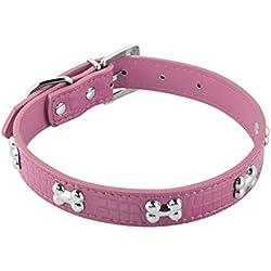 [ Collar Para Perros Grandes ] - JL PETS Collar De Eco Piel Para Perros Domésticos Hebilla Ajustable Efecto Piel De Cocodrilo Diseño Hueso Brillante, ROSA - LARGE