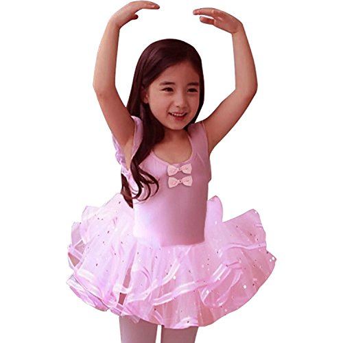 Grils Tutu Dancewear Ballet Dress Bow Tulle Chiffon Gymnastics Costume Skirt Leotards Dancing Outfit 2 3 4 5 6 Years