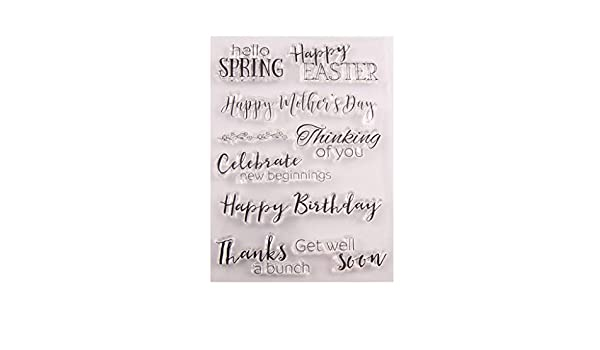 WuLi77 Happy Birthday Easter Silicone Clear Stamps for Card Making Stencils DIY Embossing Photo Album Craft Art Handmade Gift Scrapbooking