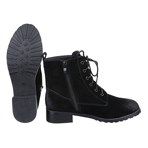 Schnürboots Damen Leder Schuhe Combat Boots Blockabsatz Leicht Gefütterte Reißverschluss Ital-Design Stiefeletten Schwarz