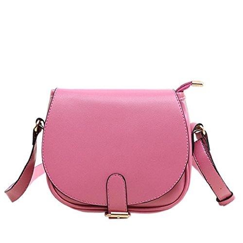 Kangrunmy Donne rivestono di pelle a tracolla pochette borsetta di moda Tote borsa Messenger Rosa