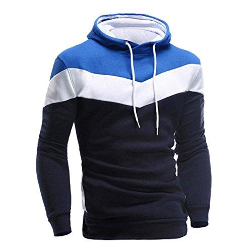 Hoodie Sweatshirt Herren Btruely Herbst Winter Lose Retro Männer Pullover Langarm Outwear (L, Marine)