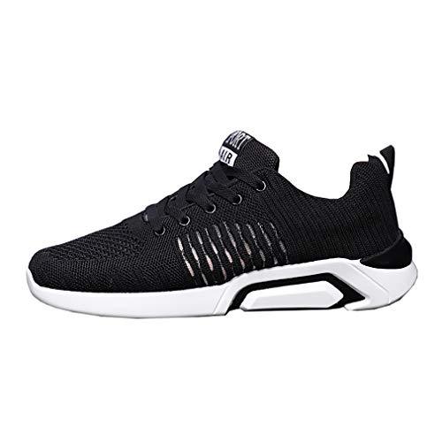 WL Scarpe da ginnastica sportive da uomo, Casual Antiscivolo Fitness Respirabile Mesh Lace Up Sneakers pour Outdoor Running,blackandwhite,42
