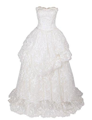 Dressystar Robe de mariée princesse Longue, à Col en Cœur, Sans Bretelles, à Gradins, en Dentelle Blanc