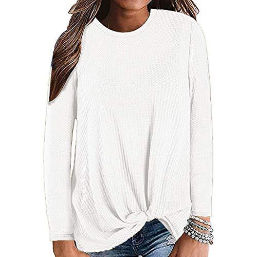 Damen Langarm T-Shirt Rundhals Langarmshirt Oberteil Rundhals Ausschnitt Casual Oberteile Sweatshirt Hemd Lose Asymmetrisch Bluse Tops