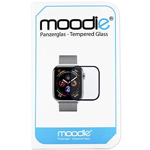 moodie Apple Watch 4-40mm Panzerglas 3D Folie mit blauen Kanten Premium Glasfolie für Gewölbte Displays Full Screen 3D Panzerglasfolie Curved - Full Cover vollständige Display Abdeckung
