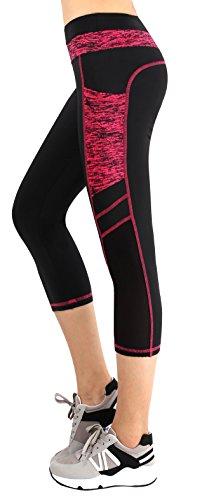 Munvot Legging Sport Femme Pantalon Yoga avec Poche Taille Haute Amincissant Noir/Rouge L