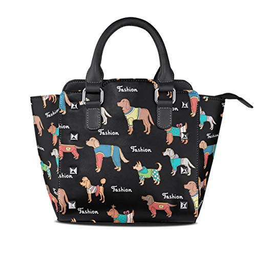 Flyup Tote Bags Handtasche für Frauen Black Fashion Dachshund Dog Rivet PU Leather Tote Bag Shoulder Bag Purse -