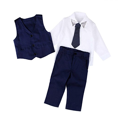 JYJM 1 Set Boys Gentleman Hochzeit Anzüge Shirts + Weste + Lange Hosen + Krawatte Kleider (Size:4 jahre, Blau)