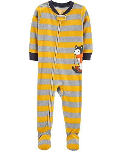 Fleece-schlafanzug (Carter's Schlafanzug 104/110 Fleece Einteiler Junge Boy warm Weich Winter Reißverschluss (104/110, gelb/grau))