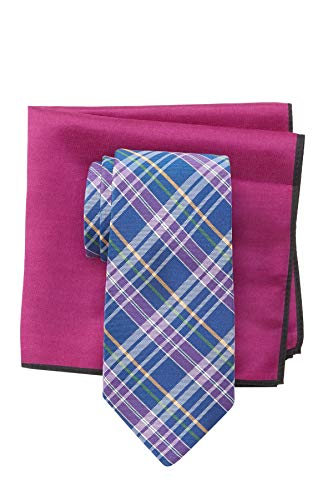 Ted Baker London Multi Color Plaid Silk Tie & Pocket Square Set - Blue - Blue Square Baker