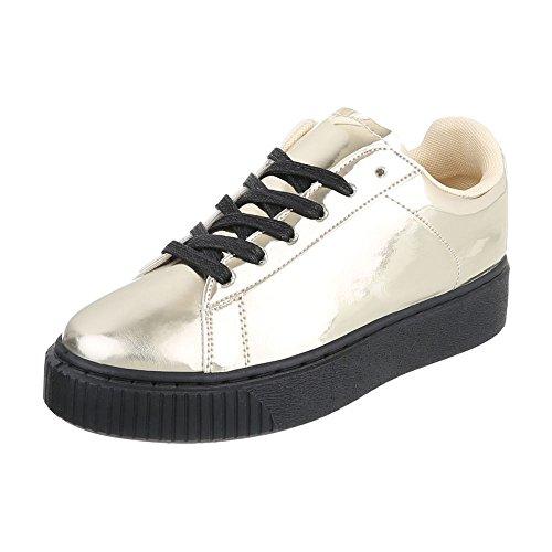 Low-Top Sneaker Damenschuhe Low-Top Sneakers Schnürsenkel Ital-Design Freizeitschuhe Gold B3147B-SP