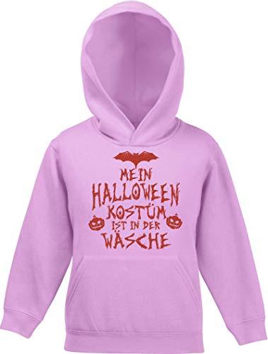 ShirtStreet Grusel Gruppen Kinder Hoodie Kapuzenpullover Mädchen Jungen Mein Halloween Kostüm ist in der Wäsche 3, Größe: 116,Rosa (Drei Mädels Der Halloween-kostüme)
