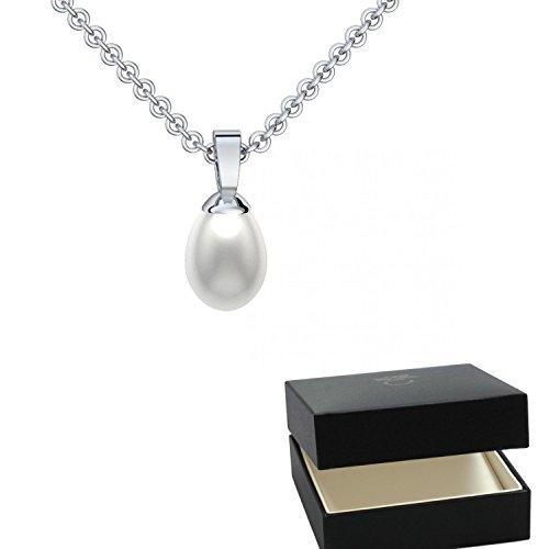 Perlenanhänger Tropfenform Silber 925 (echte hochwertige 7 mm Süßwasser Perle) Tropfen Perlen Perlenkette oval Silber 925 Silberkette weiß echt- inkl. Luxusetui FF89 SS925SWPE45 (Perlen Echte Aquamarin)